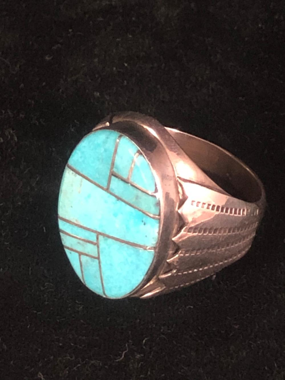 Turquoise mosaic inlay sterling silver ring