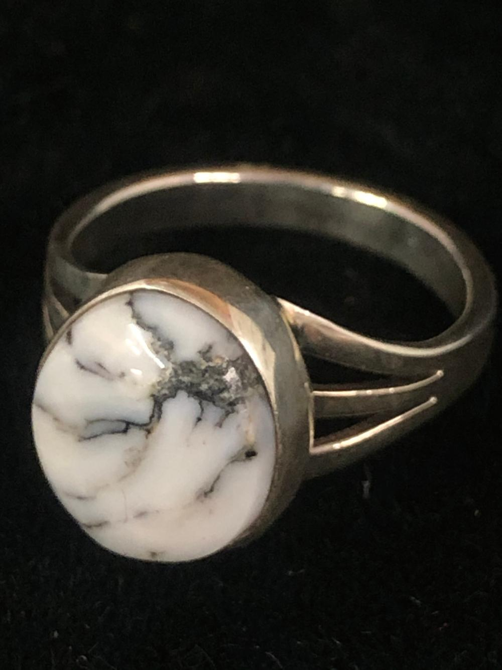 White buffalo sterling silver ring