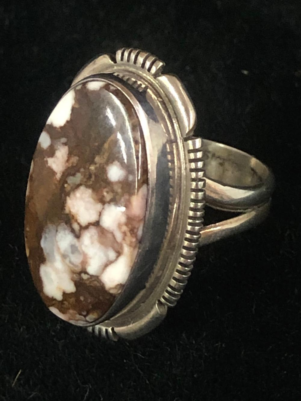 Crazy horse turquoise sterling silver ring