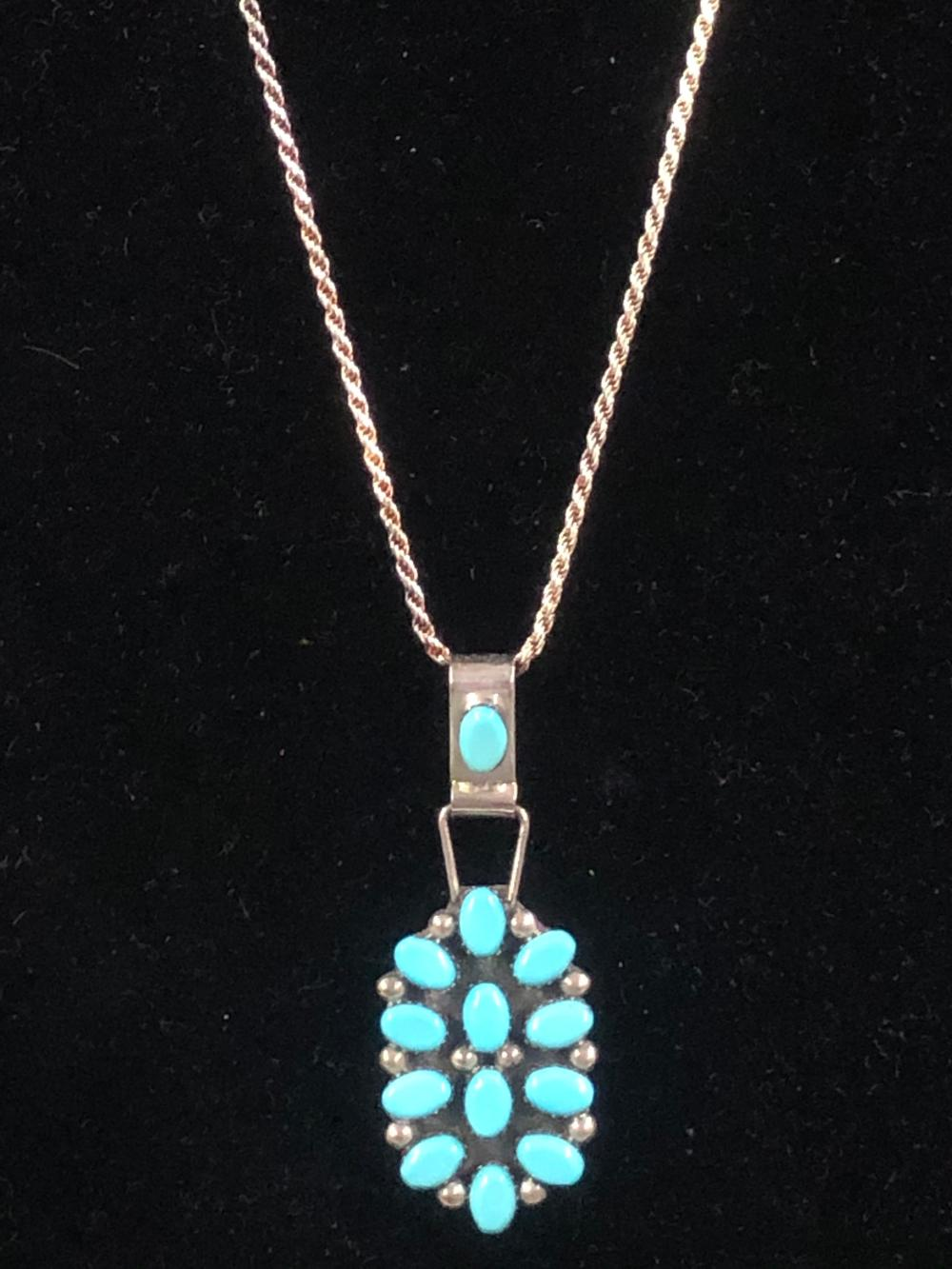 Turquoise inlay sterling silver pendant