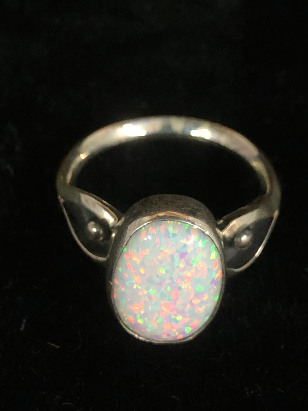 Cultured Opal sterling silver ring