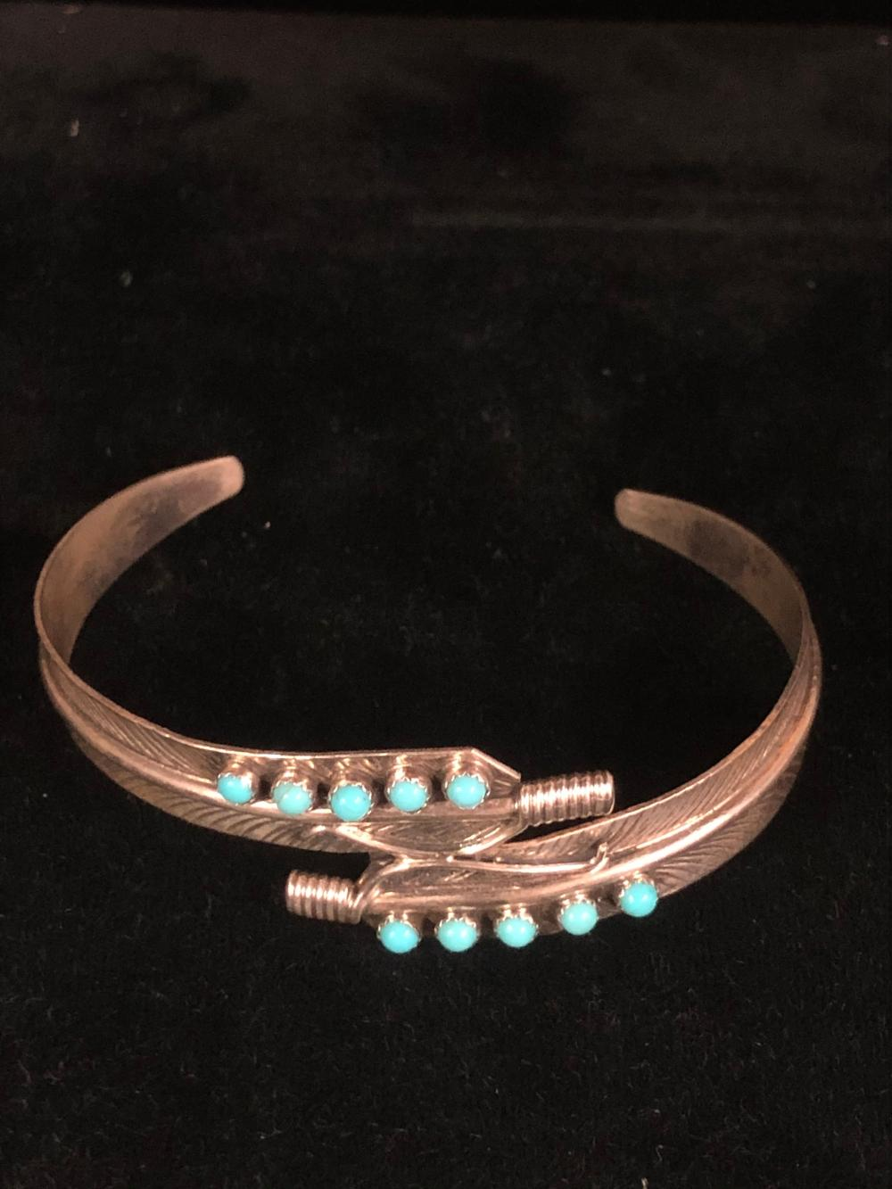Feather sterling silver cuff bracelet with turquoise