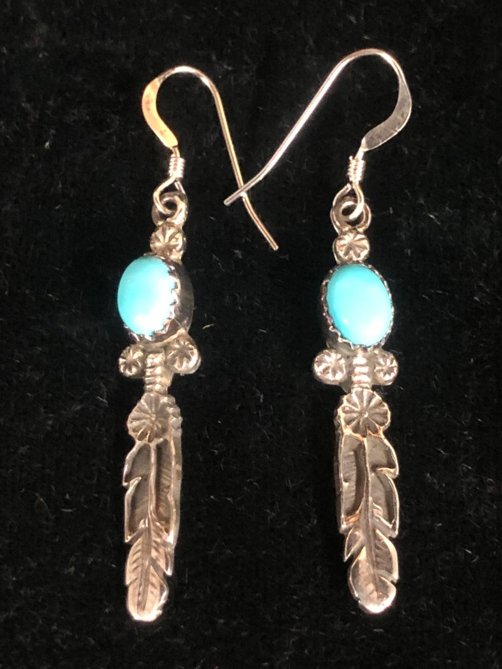 Feather with turquoise stones sterling silver earrings