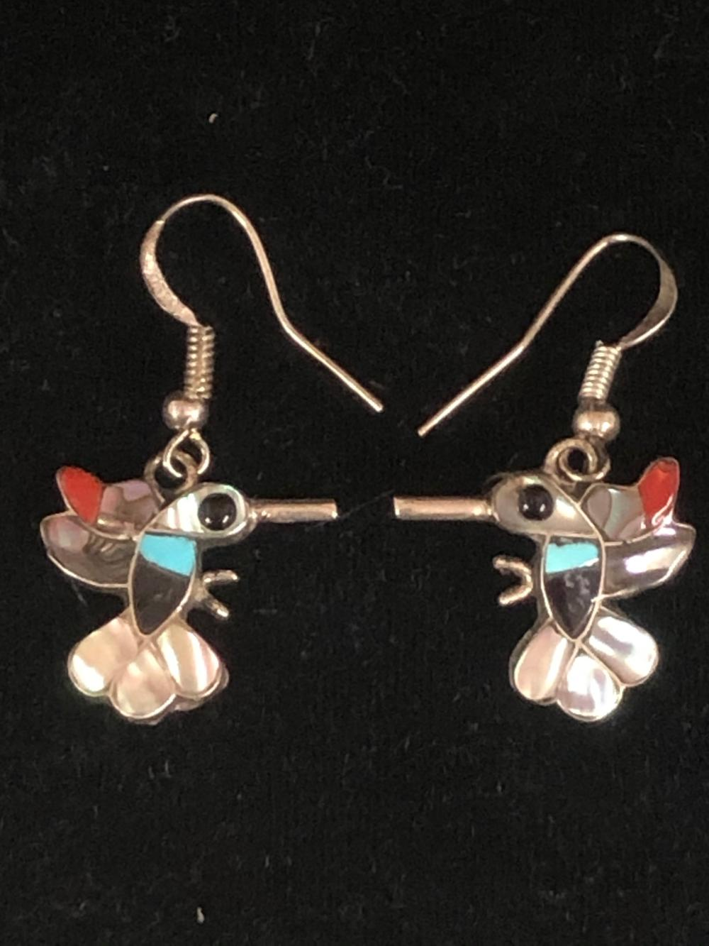 Hummingbird sterling silver earrings with multiple stones