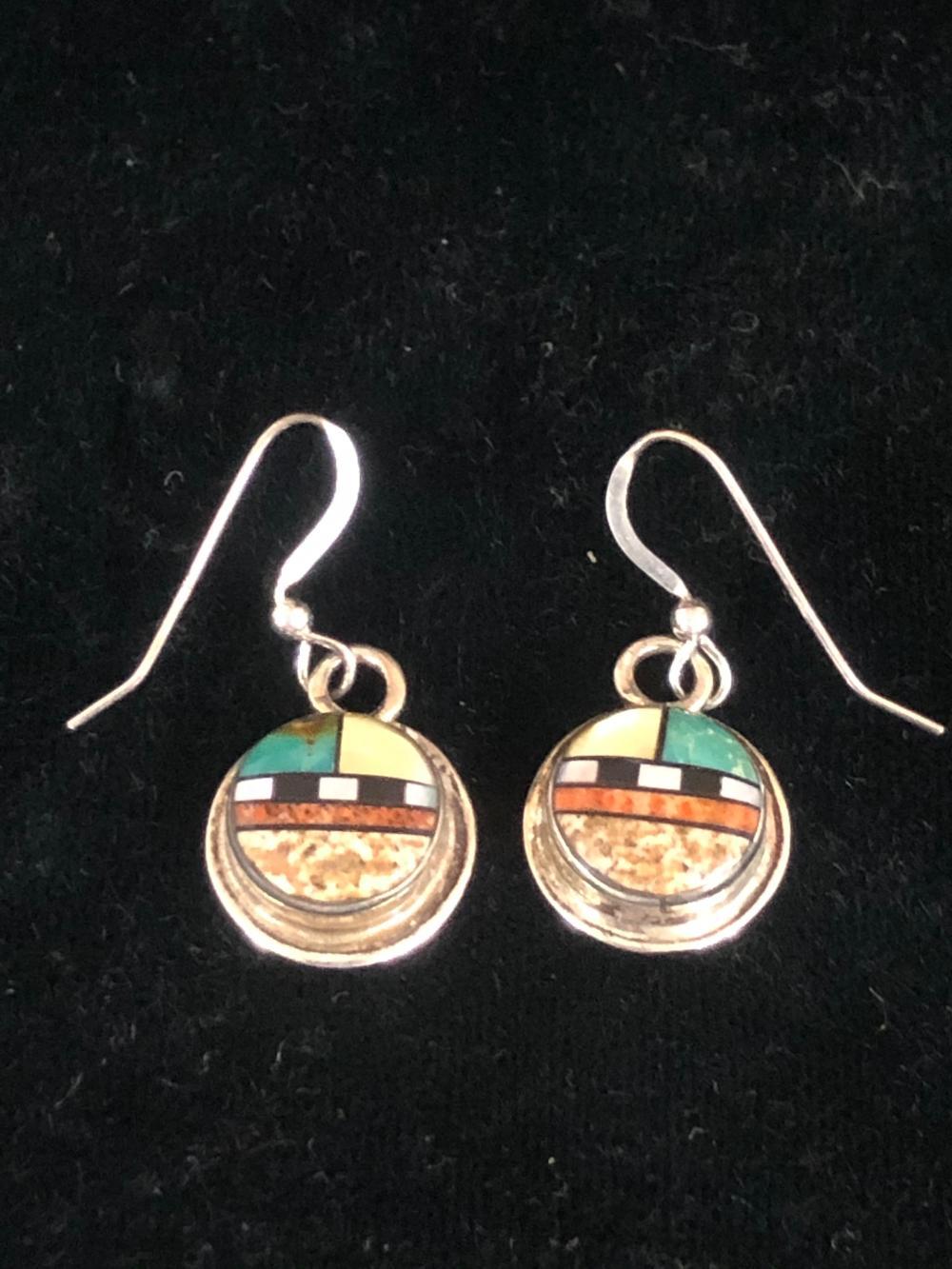 Multiple stone inlay sterling silver earrings