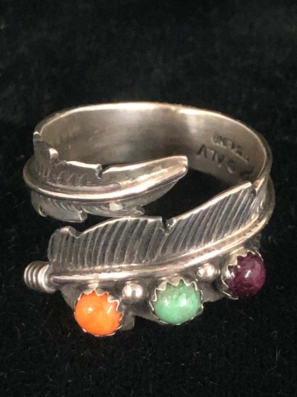 Feather wrap sterling silver ring with assorted stones