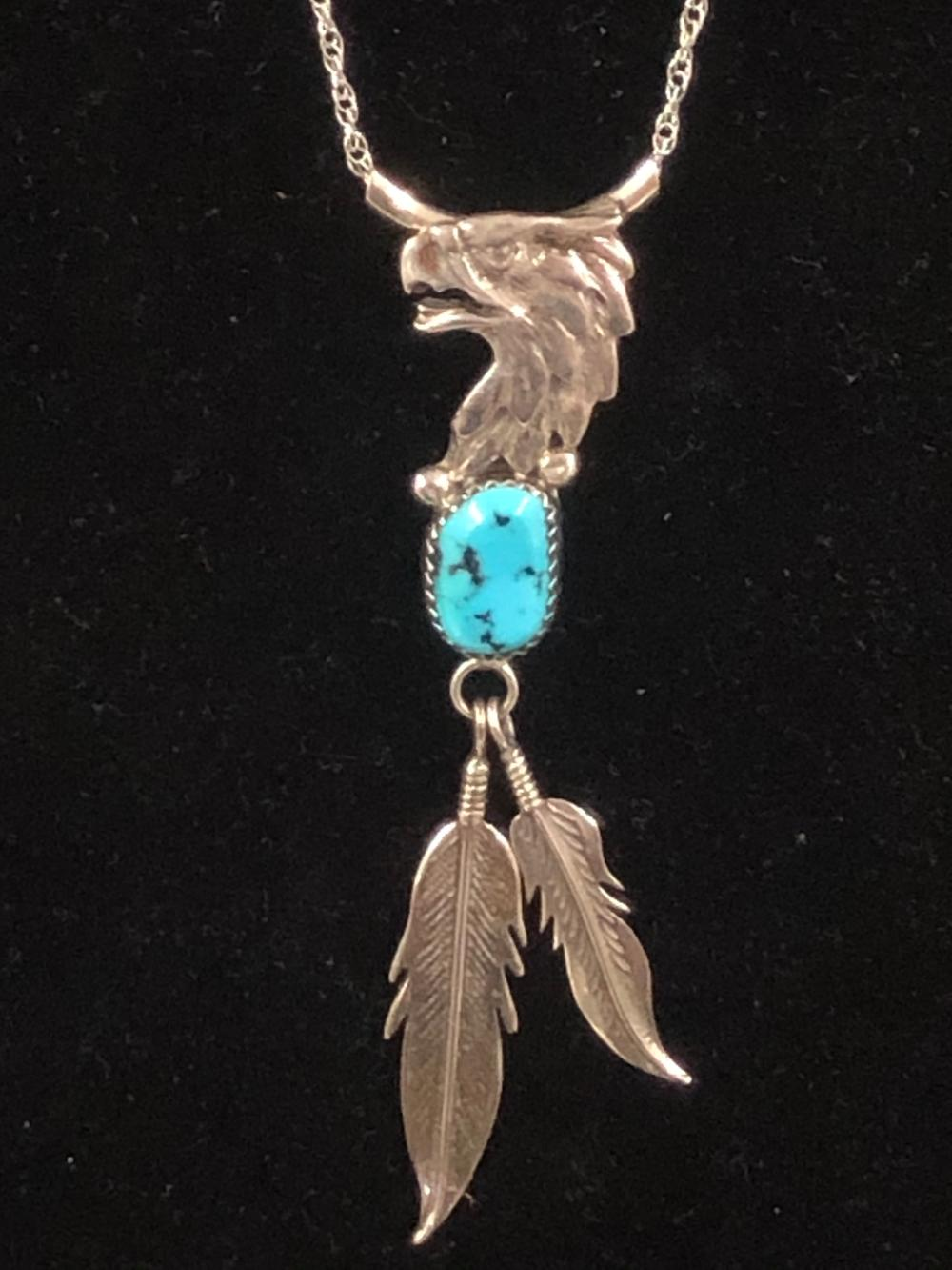Eagle and feather sterling silver necklace