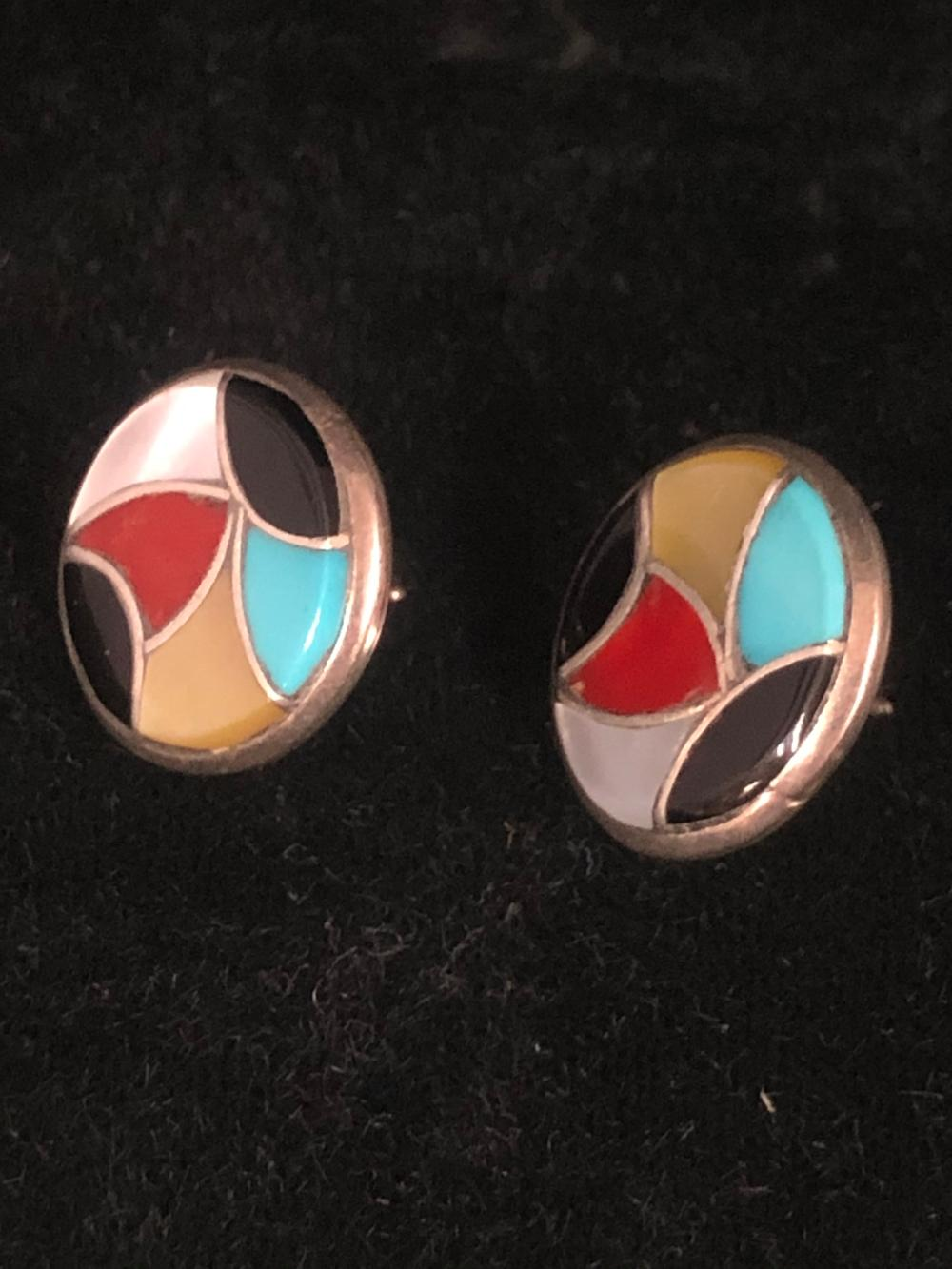 Round sterling silver earrings with inlay stones