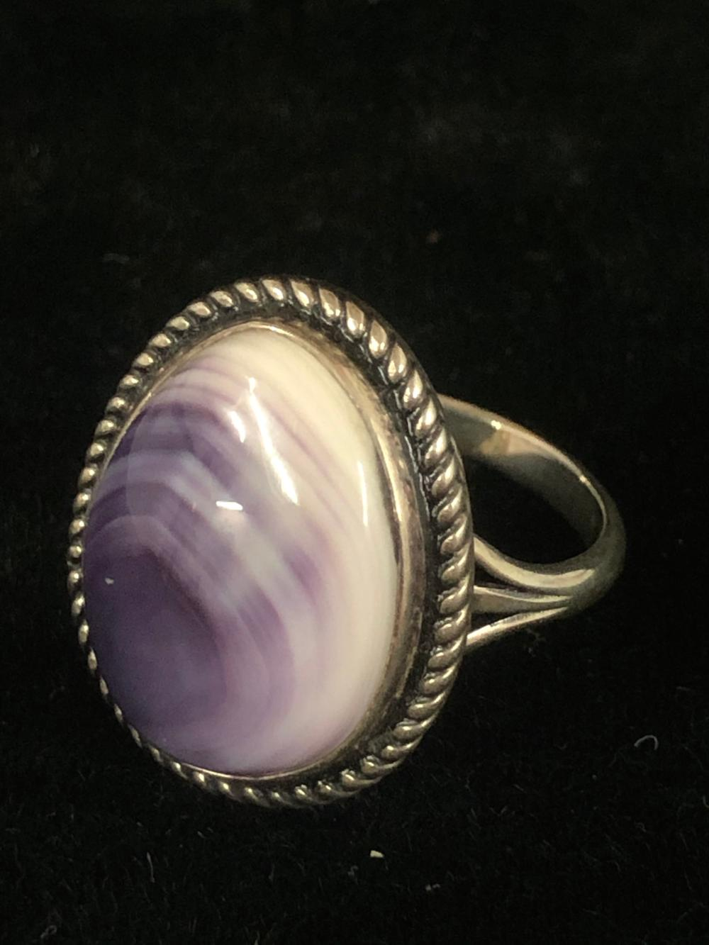 Wampum shell sterling silver ring