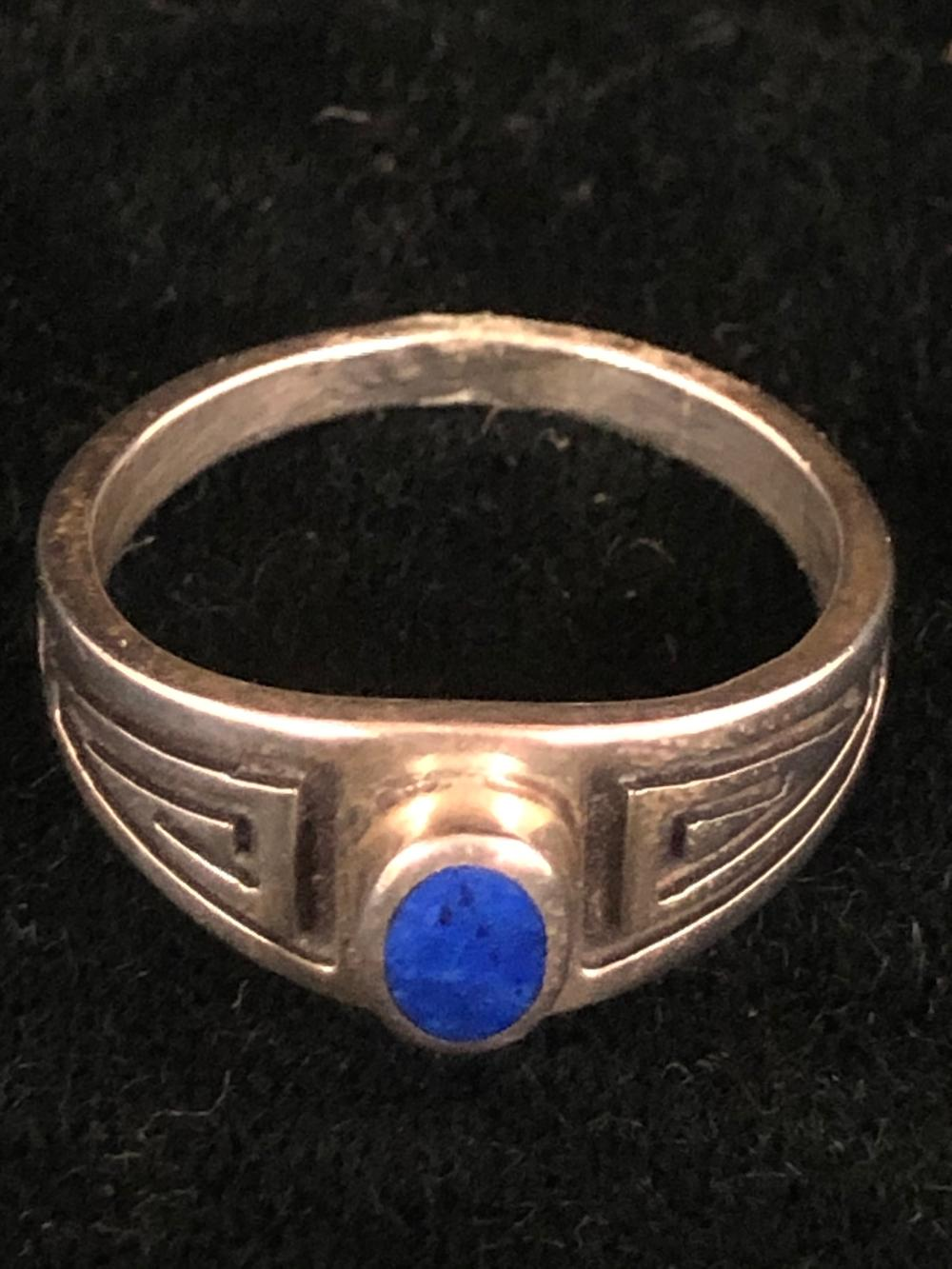 Lapis sterling silver ring with geometric design