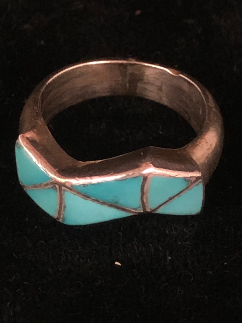 Turquoise stone inlay sterling silver ring