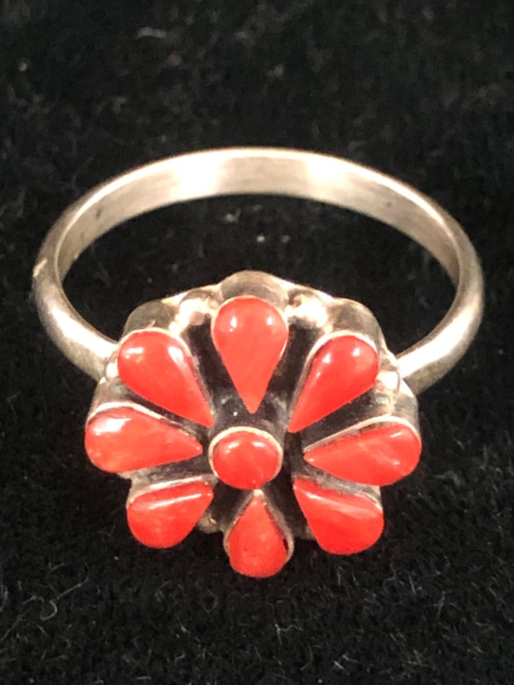Coral stone sterling silver ring