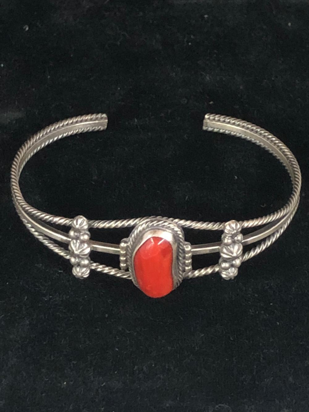 """Coral """"aged"""" sterling silver cuff bracelet"""
