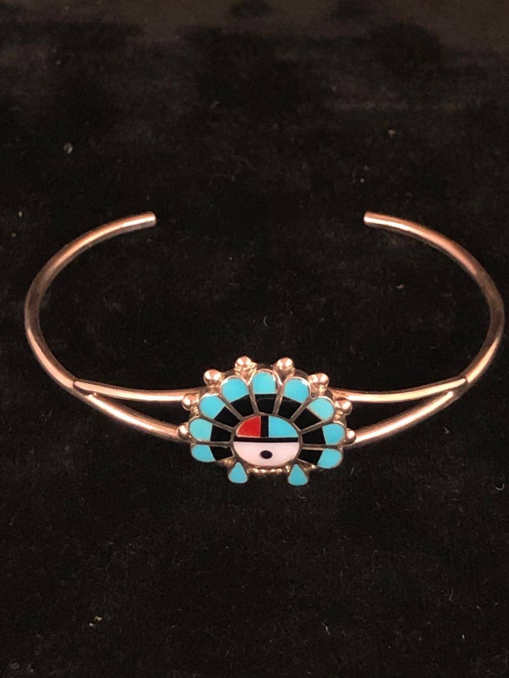 Sunface multi stone sterling silver cuff bracelet