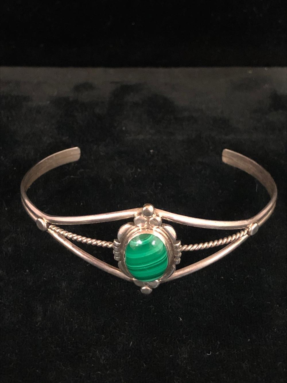 Malachite sterling silver cuff bracelet