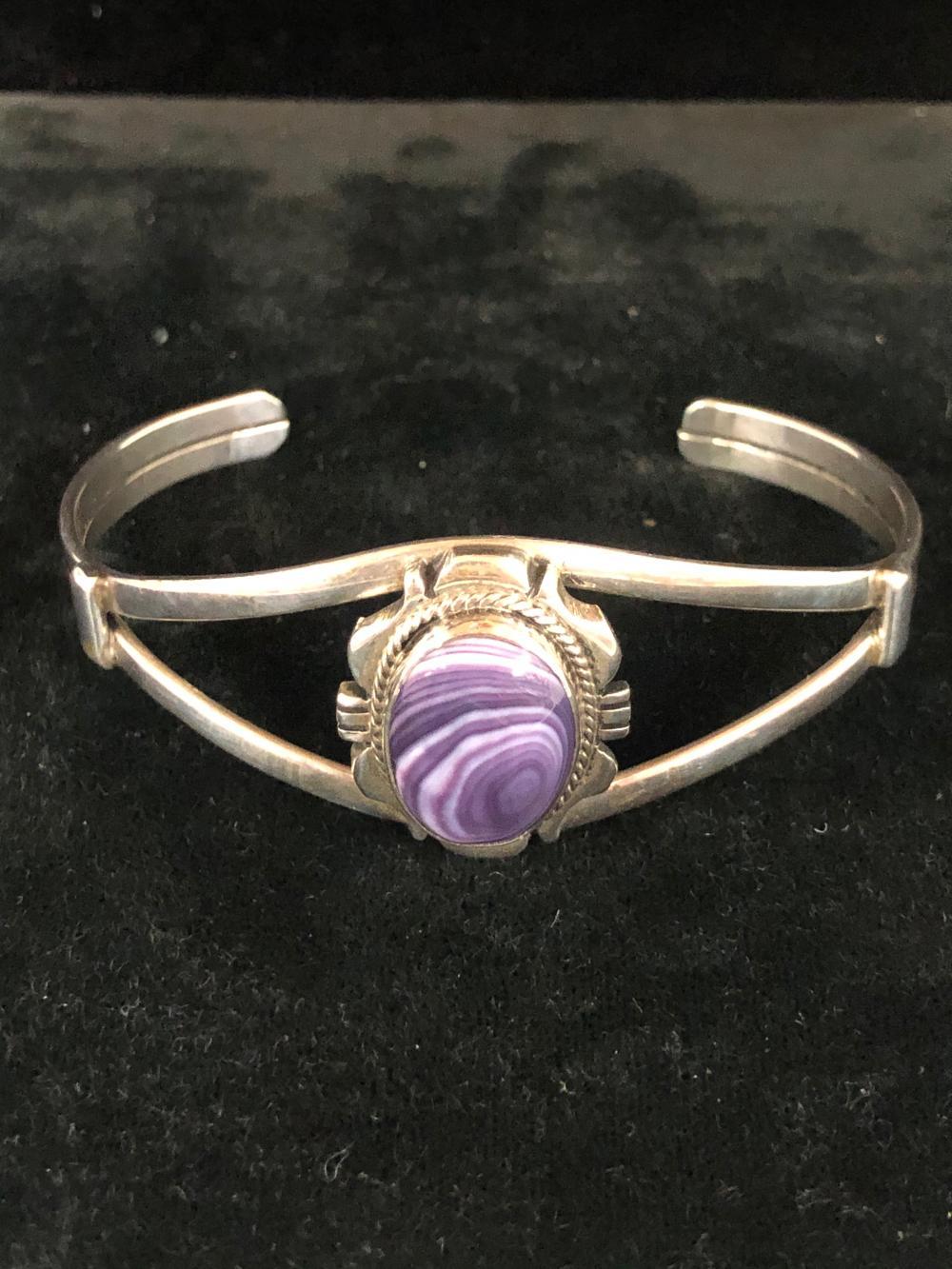 Wampum shell sterling silver cuff bracelet