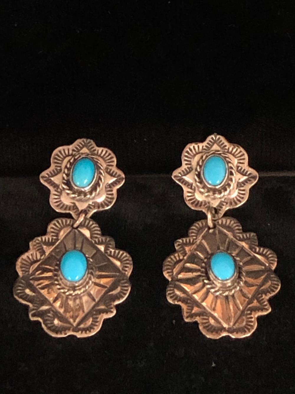 Concho style turquoise stone sterling silver Earrings