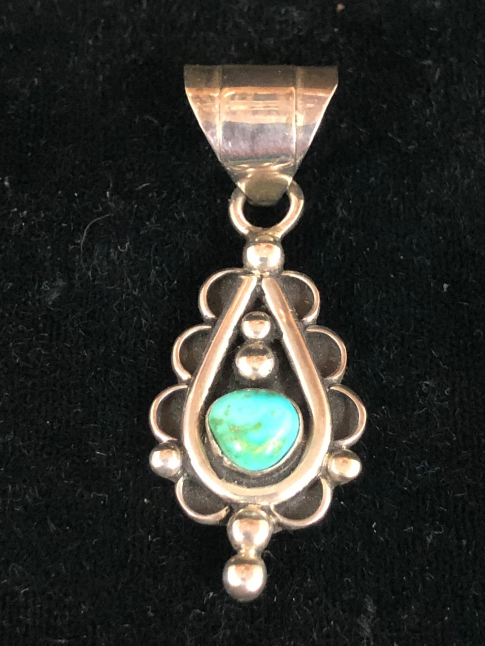 Two Sided Sterling Silver Pendant with Turquoise