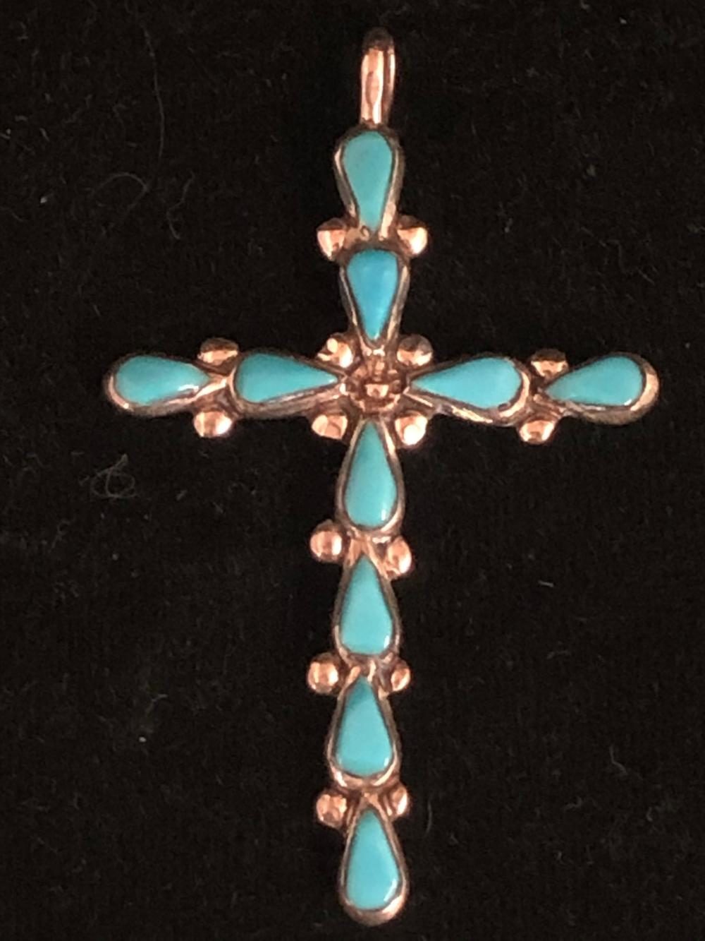 Cross sterling silver pendant with turquoise stones
