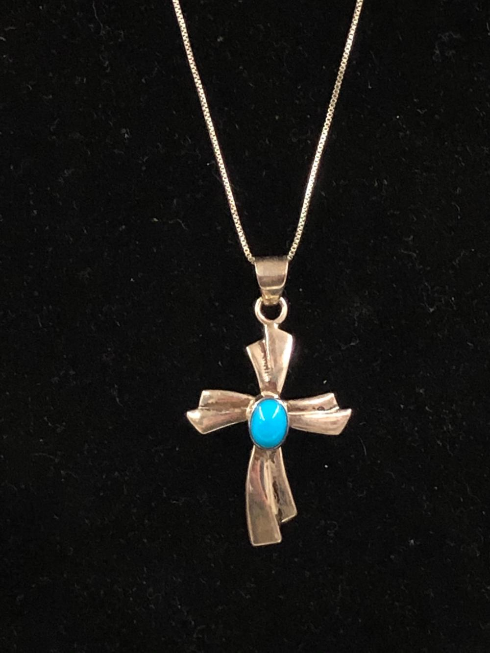 Cross with turquoise stone sterling silver necklace