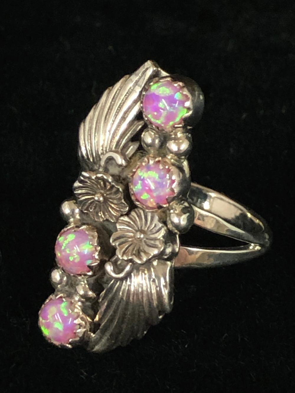 Pink cultured opal sterling silver ring