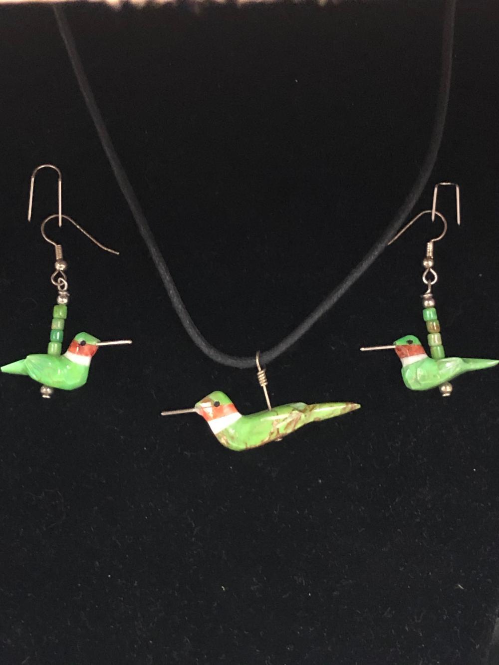 hummingbird earring & necklace set