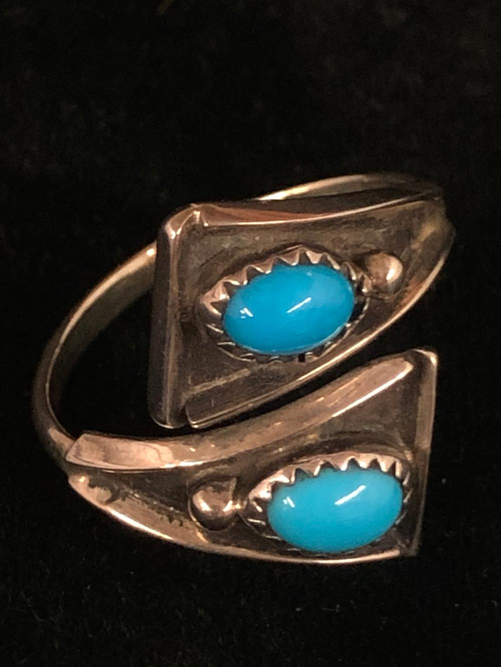 Turquoise with two stones sterling silver ring