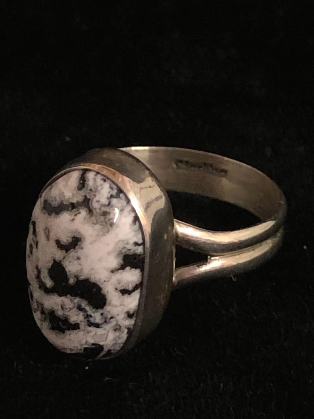 White buffalo turquoise sterling silver ring