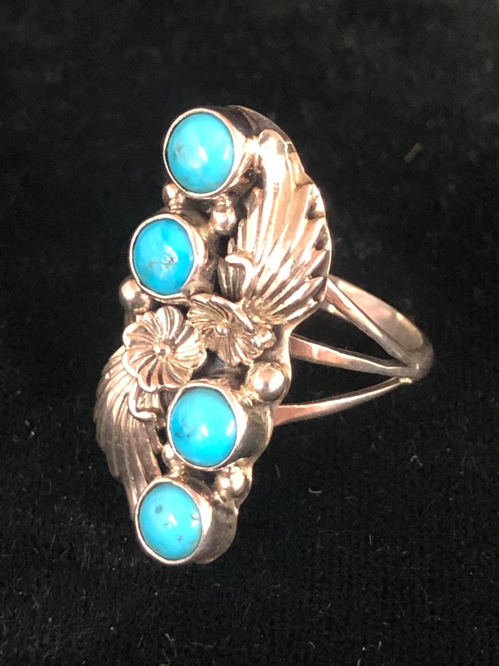 Turquoise stone & leaf design sterling silver ring