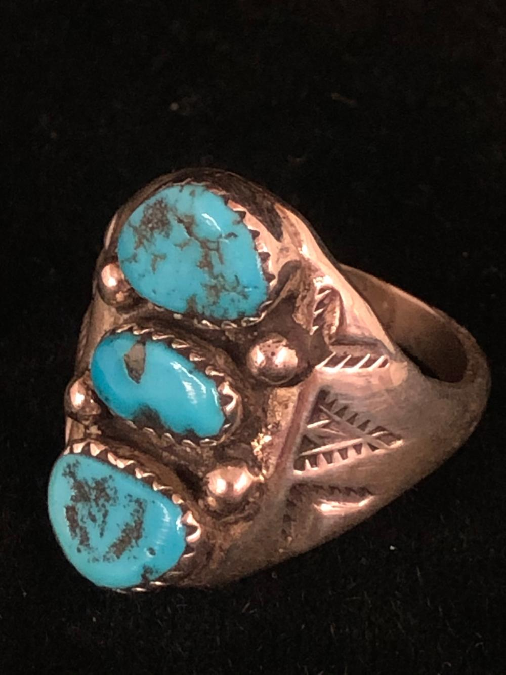 Three turquoise stone sterling silver ring