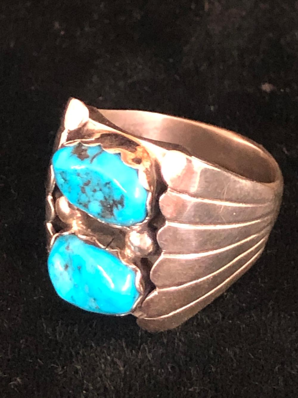 Double turquoise stone sterling silver ring