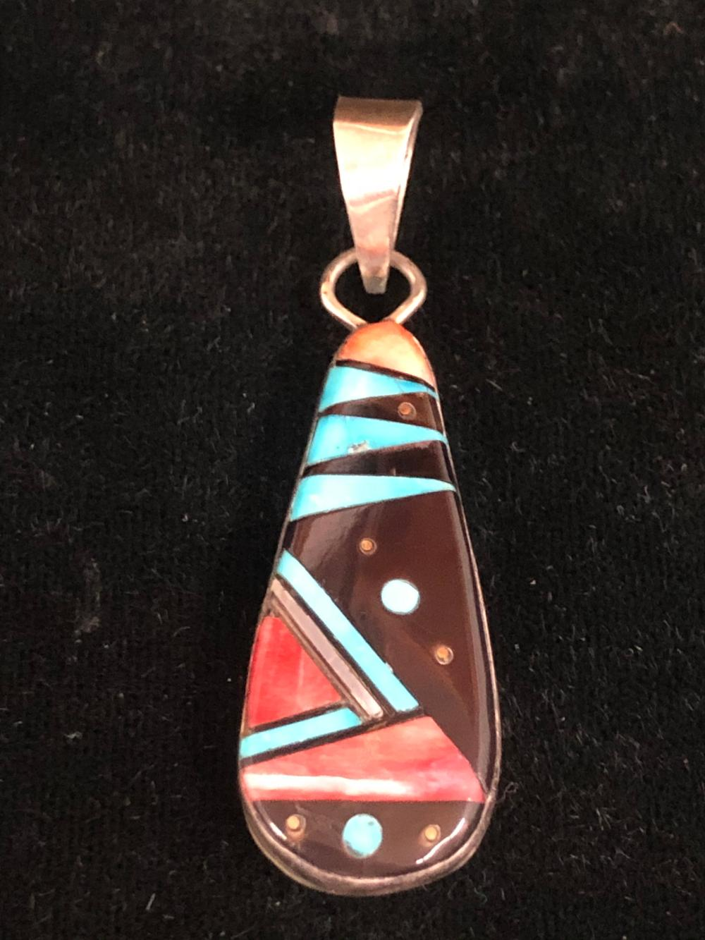 Multiple stone inlay teardrop shaped sterling silver pendant