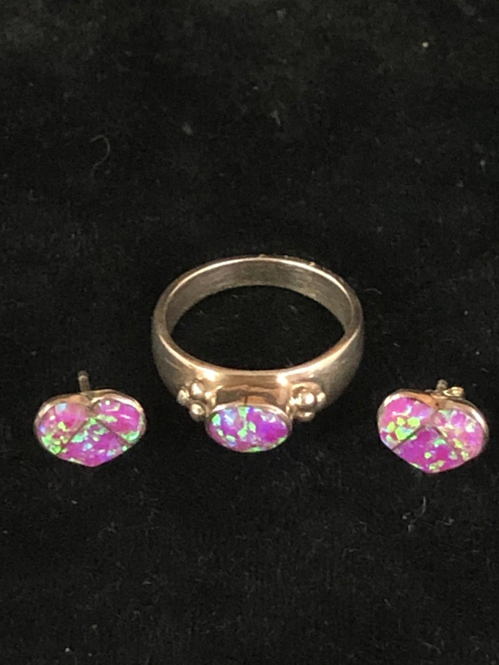 Cultured opal sterling silver ring and heart shaped earring 'set'