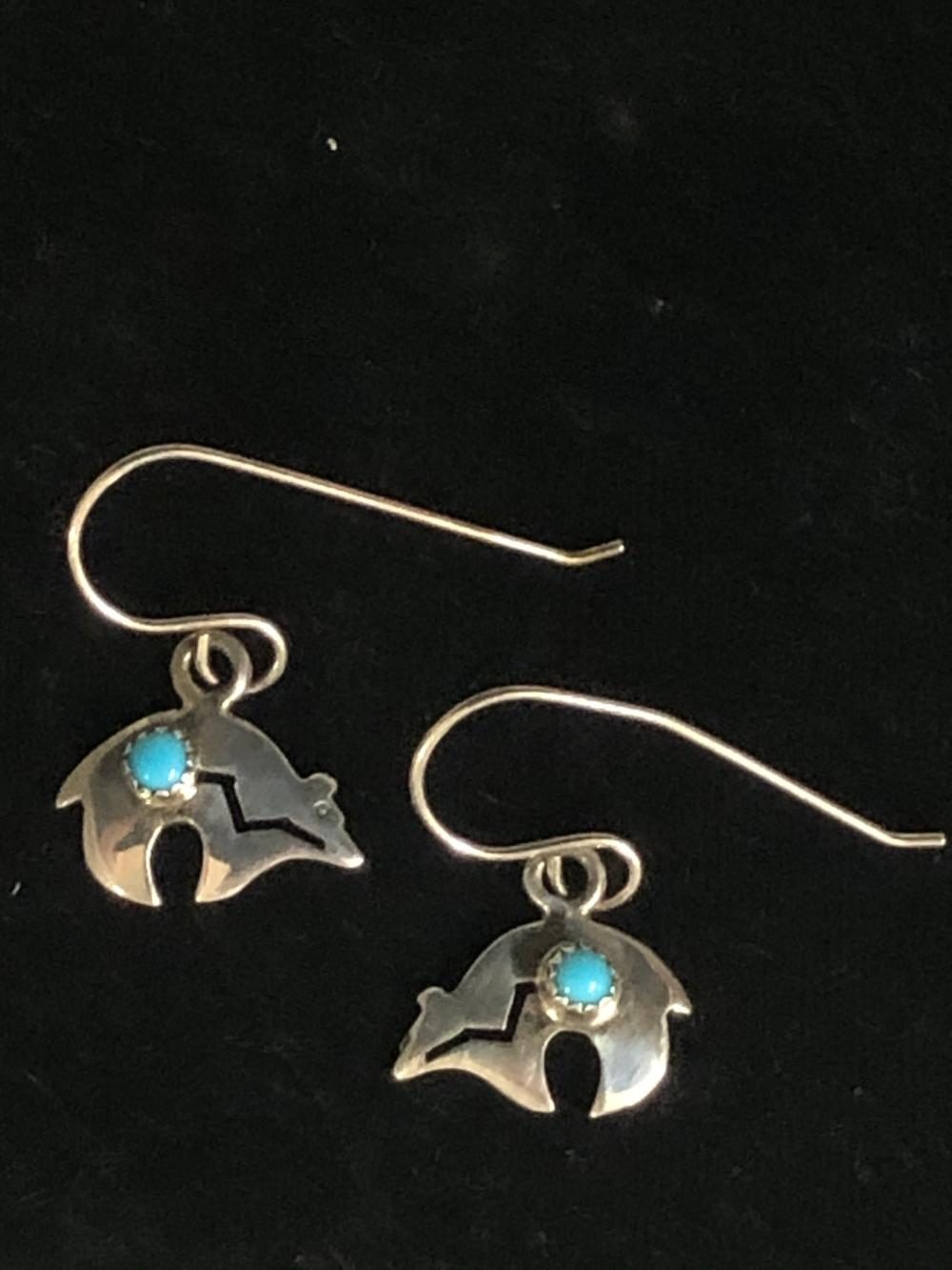 Petite bear shaped sterling silver earrings with turquoise stone