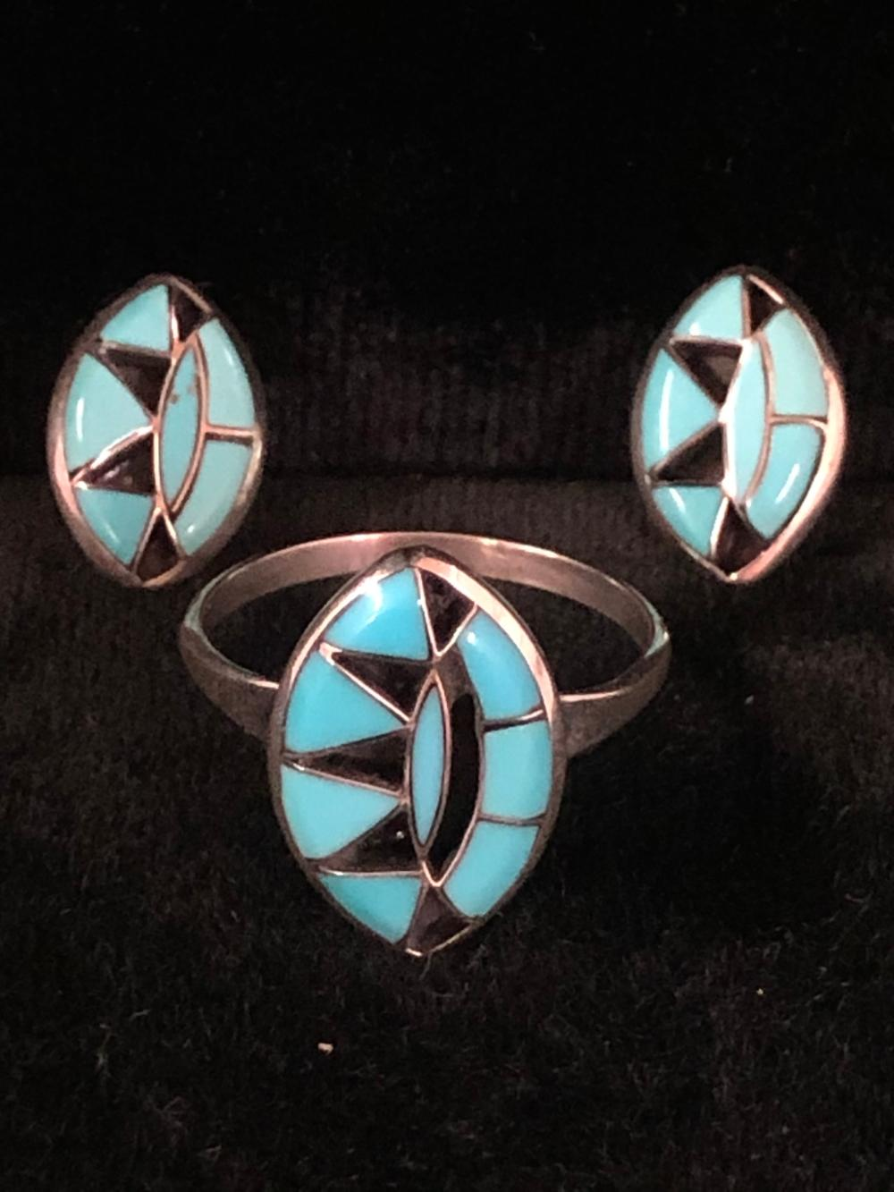 Turquoise stone inlay design sterling silver ring and earring 'set'