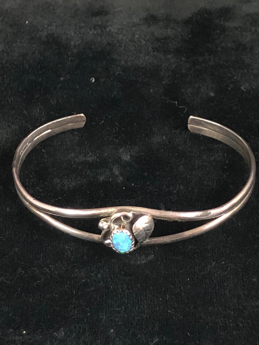 Cultured blue opal sterling silver cuff bracelet