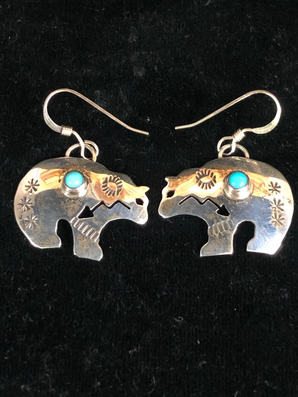 Bear shaped sterling silver earrings with turquoise stone