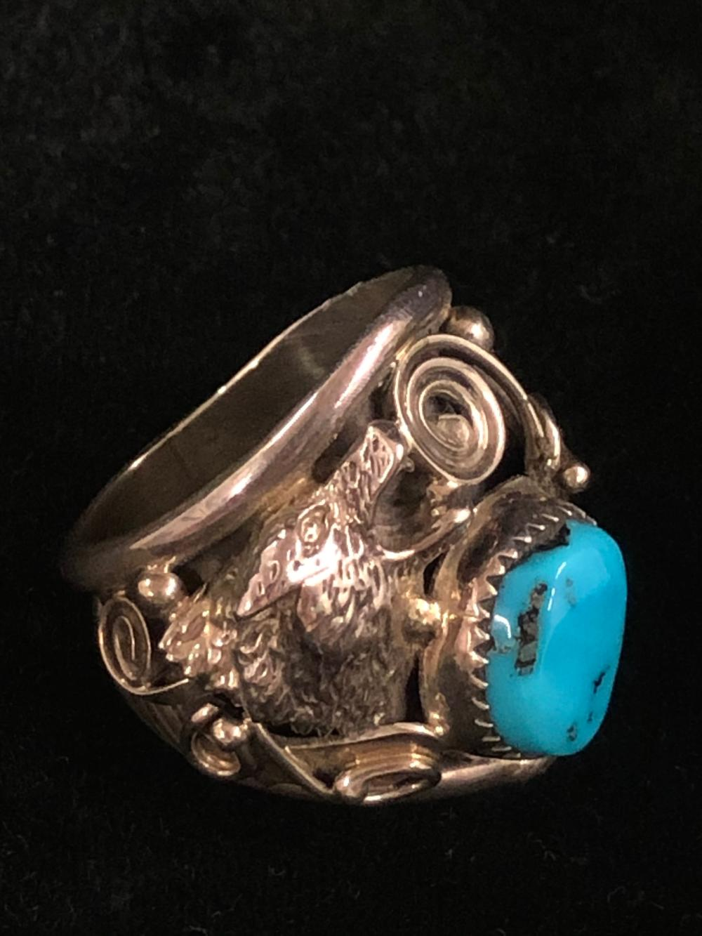 Wolf face and turquoise sterling silver ring