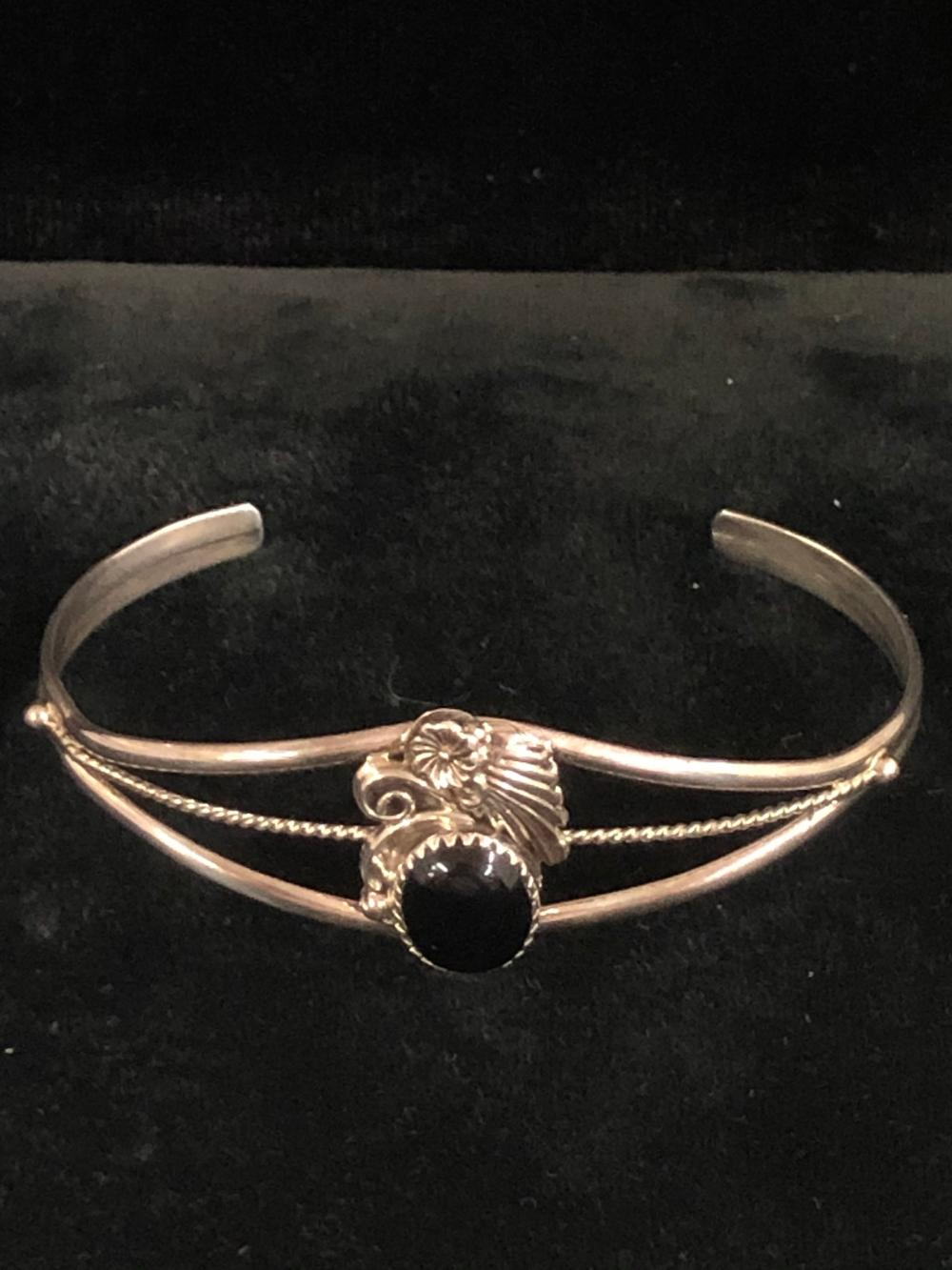 Black onyx sterling silver cuff bracelet