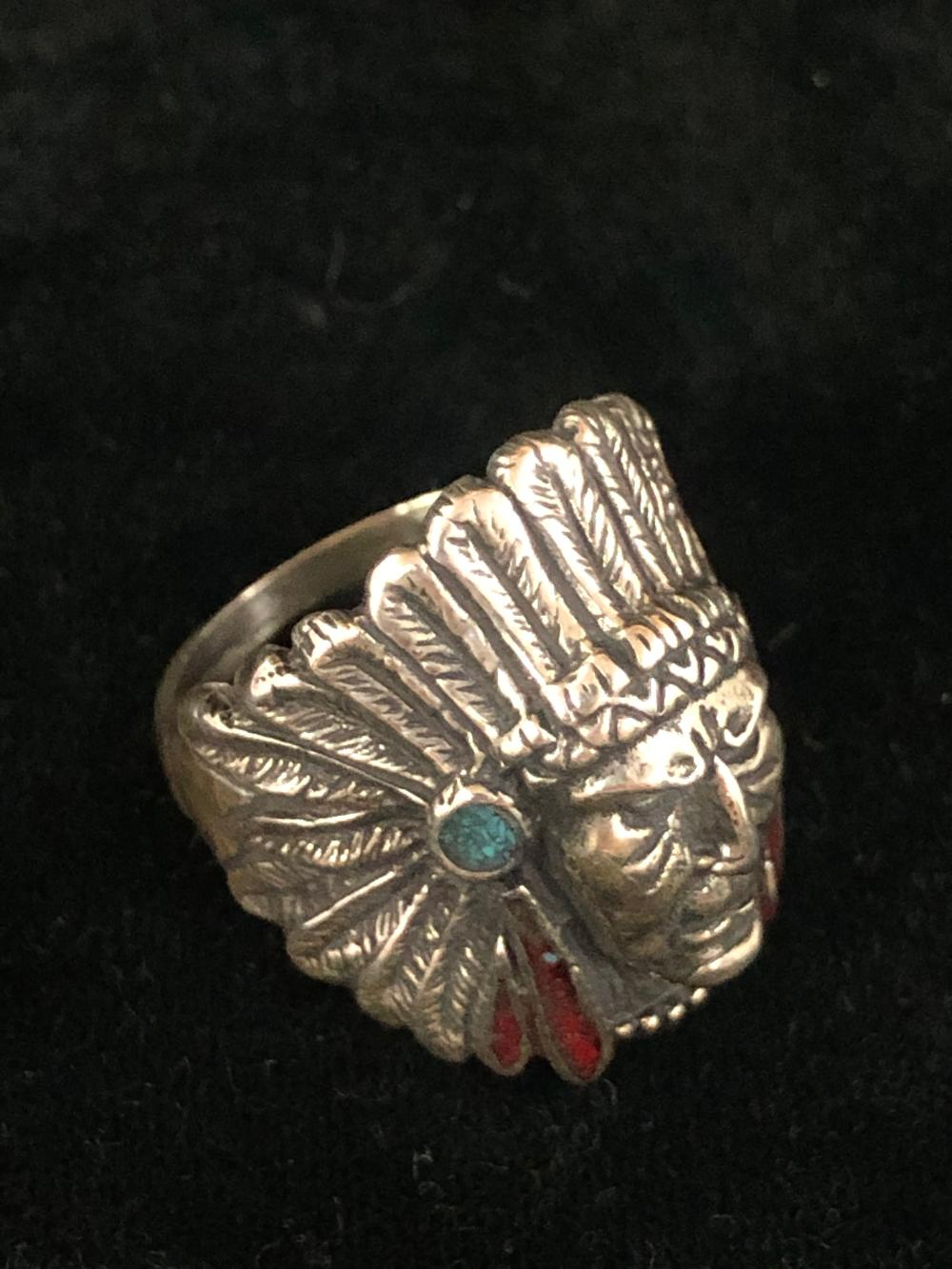Native American turquoise and coral chip inlay sterling silver ring