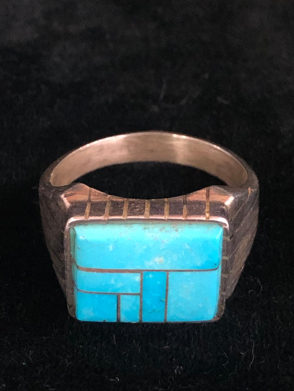 Turquoise inlay sterling silver ring