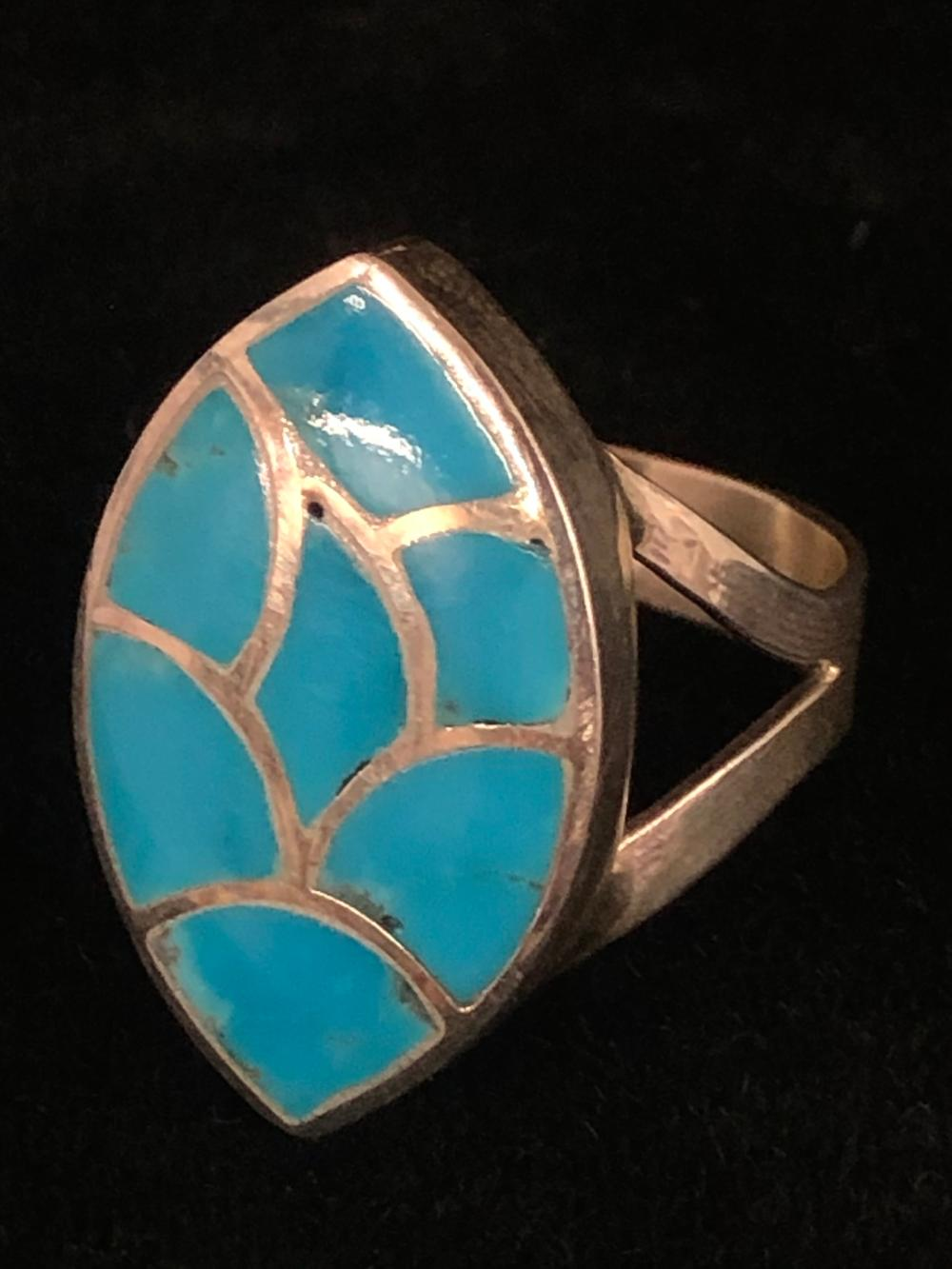 Turquoise inlay with silver channels sterling silver ring