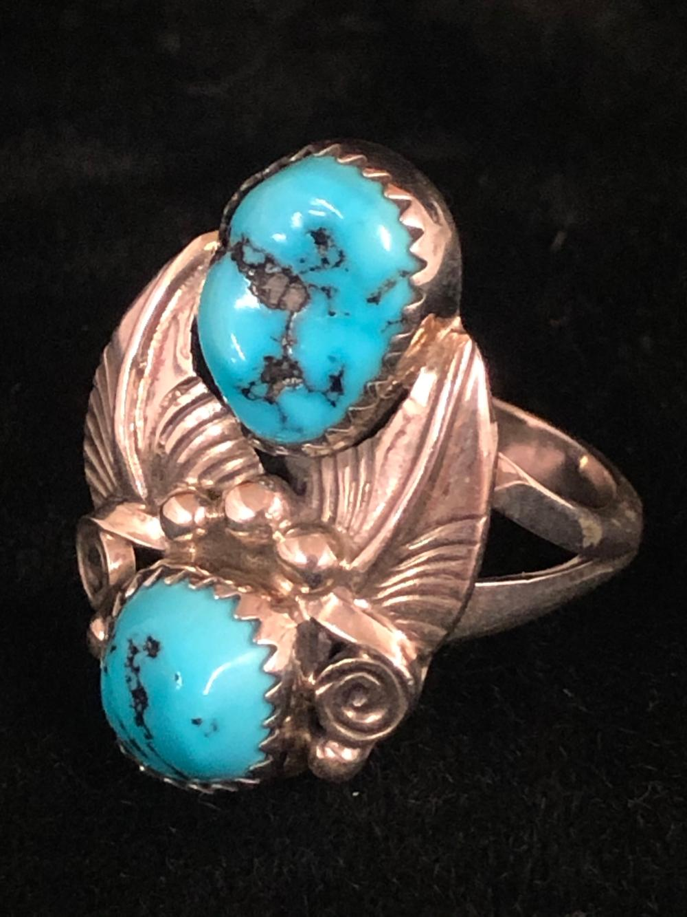 Double turquoise with leaf pattern sterling silver ring