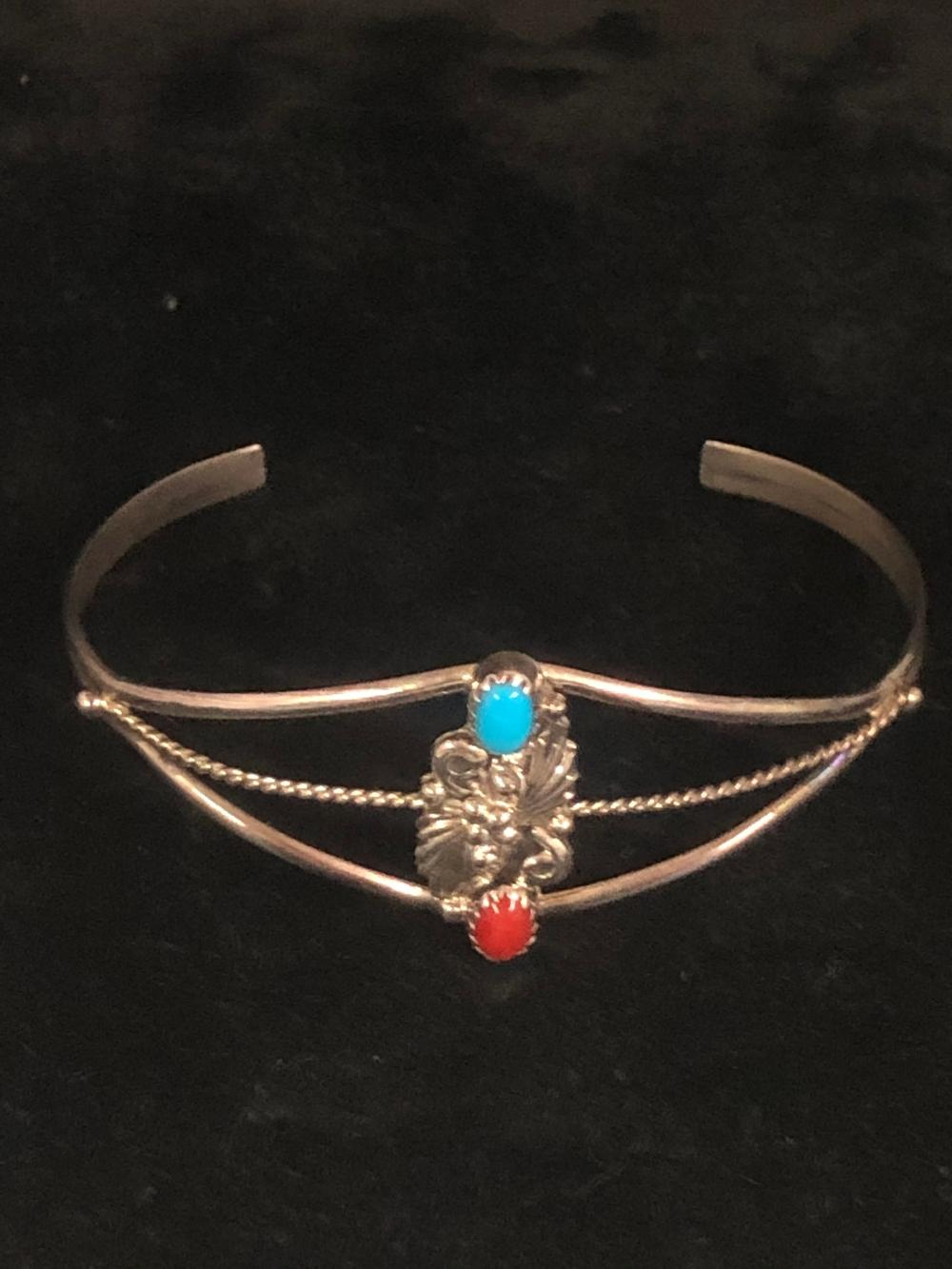 Turquoise and coral sterling silver cuff bracelet