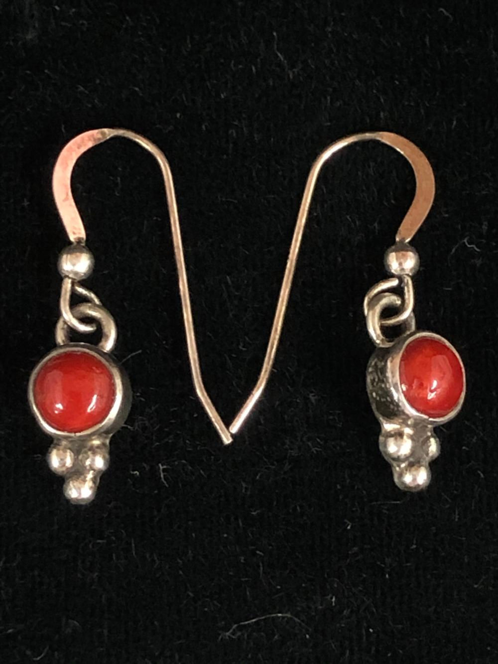 Small round coral sterling silver earrings