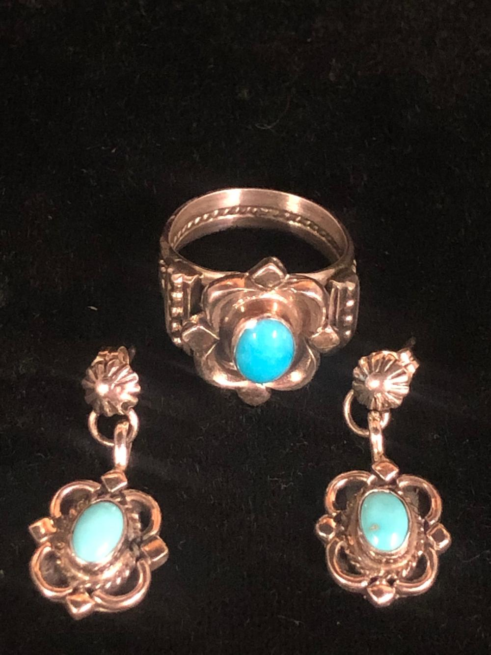 Turquoise sterling silver ring and earring 'set'
