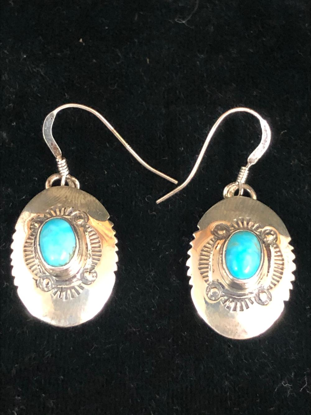 Turquoise stone sterling silver earrings