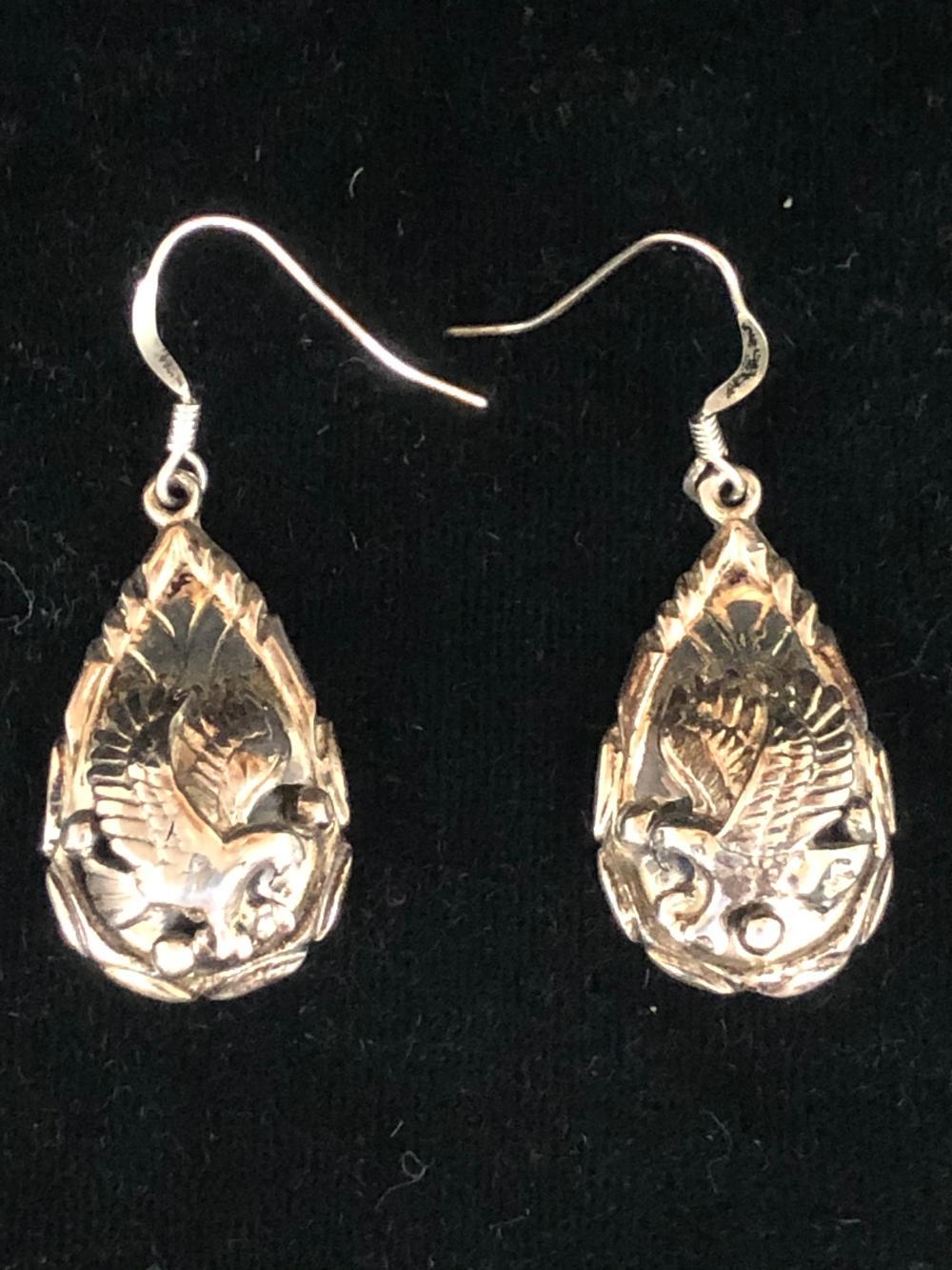 Sterling silver eagle earrings