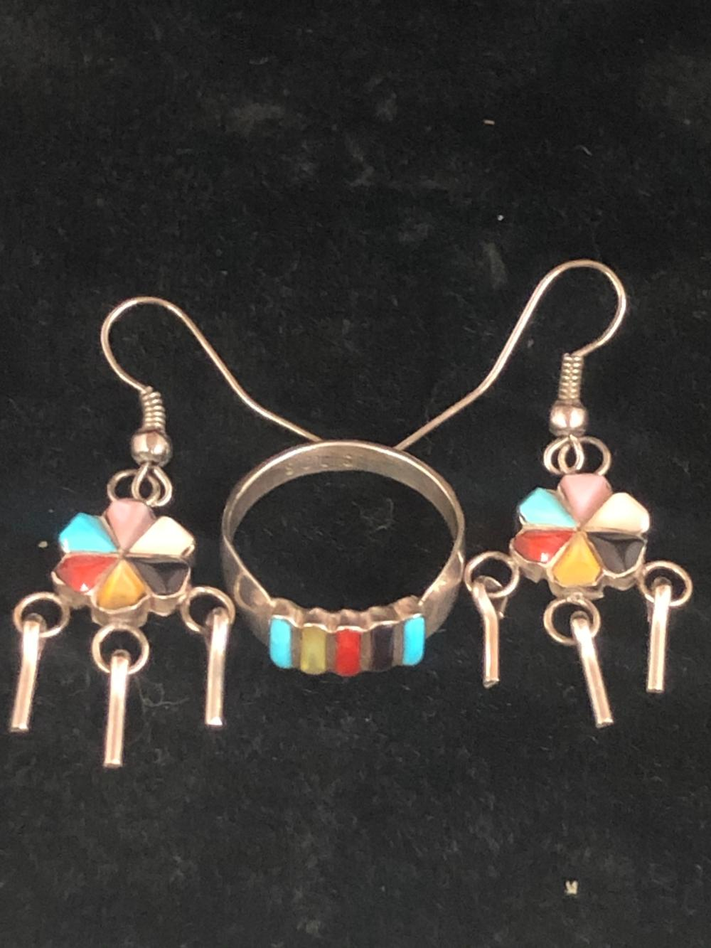 Multiple stone inlay ring and earring 'set'