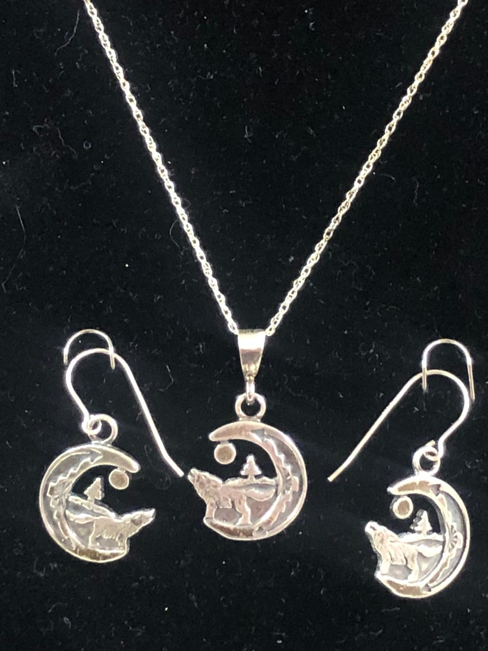 Sterling silver wolf in moon necklace and earring set
